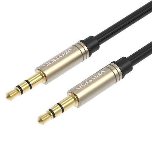 Vention Câble Audio 3,5mm Mini-Jack Mâle à Mâle Plaqué Or Droit 50cm BK