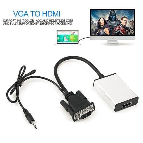 VGA Entrée Audio à sortie HDMI Adaptateur Convertisseur Câble Audio Vidéo HD