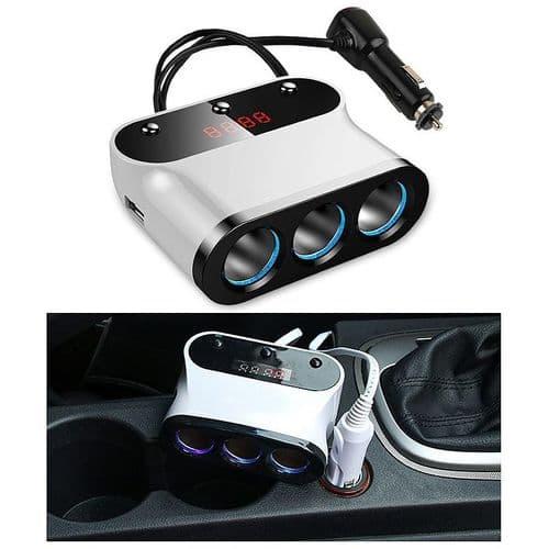 Voiture Chargeur 120W Auto Allume-Cigare Splitter USB Port Voltmètre