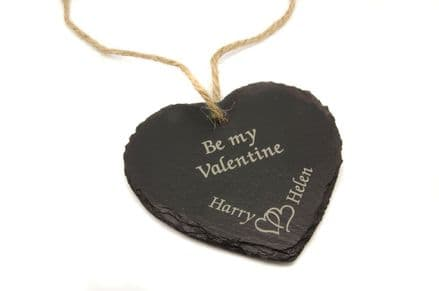 """""""Be My Valentine"""" Hanging Slate Heart Personalised"""