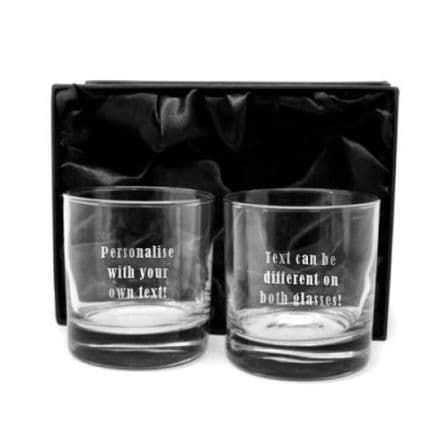 13oz Thick Base Whiskey Glasses Personalised