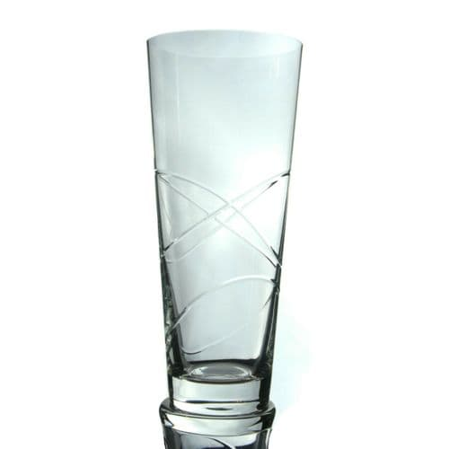 30cm Hand Cut Crystal Conical Vase Personalised