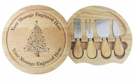 4 Piece Cheese Board Set Xmas Tree Design Personalised