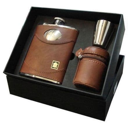 6oz Brown Leather Hip Flask Set Personalised