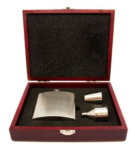 6oz Hip Flask Funnel & Shot Cup In Wooden Box Personalised