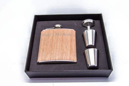 6oz Wooden Stainless Steel Hip flask Set Personalised
