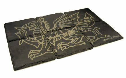6pc Welsh Dragon Design Natural Slate Coaster Set