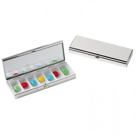 7 Day Weekly Metal Pill Box with Mirror Personalised