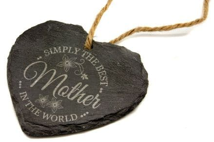 A Mothers Day Simply the Best Slate Heart Personalised
