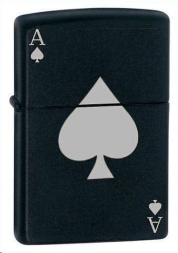 Ace of Spades Black Matte Zippo Lighter Personalised