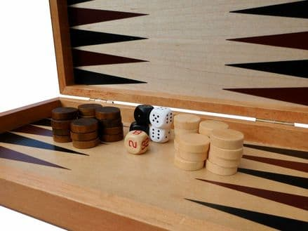 Backgammon Game Set in Stylish Rosewood Box Personalised
