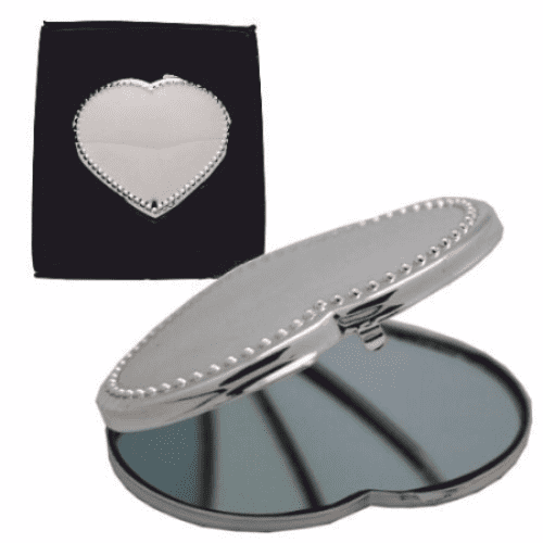 Beaded Heart Design Compact Mirror Personalised