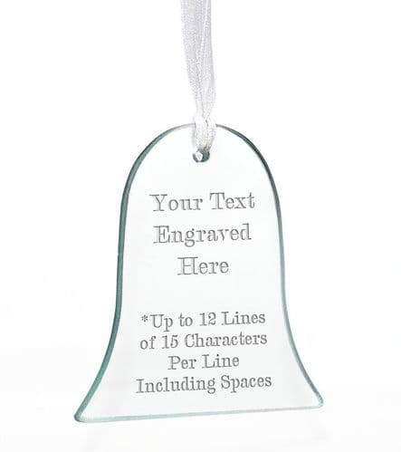 Bell Christmas  Glass Tree Decoration Personalised For Christmas