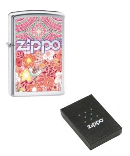 Birdie, Songbird Flowers Boho Zippo Lighter Personalised