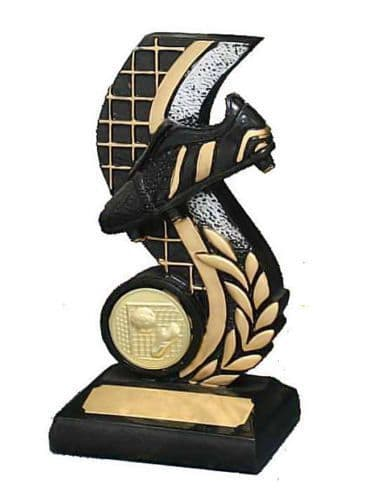 Black and Gold Football Boot Column Trophy