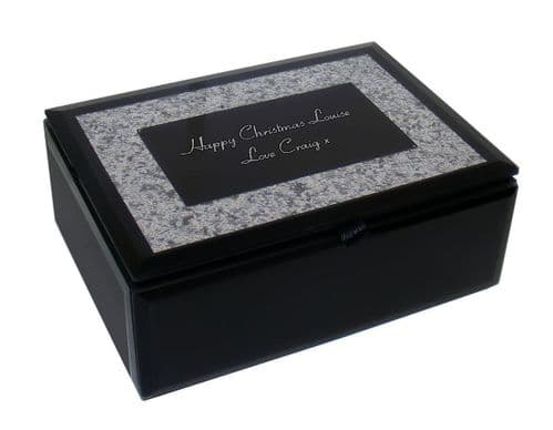 Black Mirrored Glass Glitter Jewellery Box  Personalised For Christmas