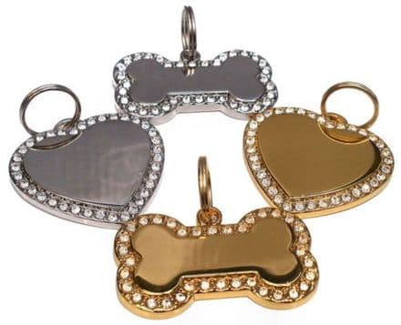 Bling Heart and Bone Tags