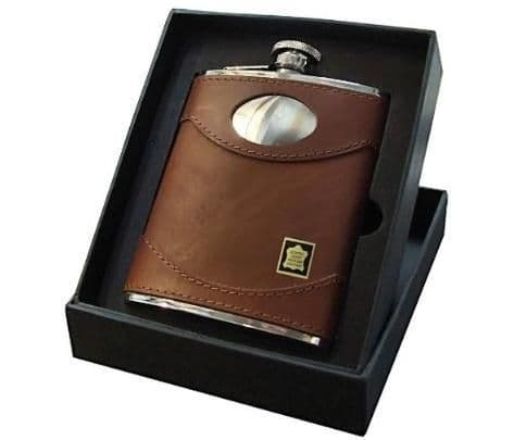 Brown Spanish Leather 6oz and 4oz Hip Flask Personalised