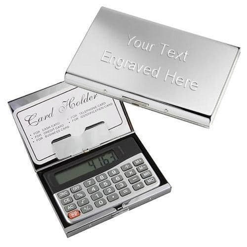 Business Card Holder Case with Calculator Personalised