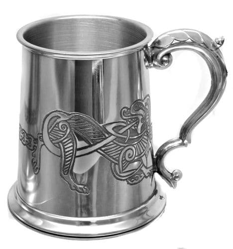 Celtic Band With Lion Pewter Tankard Personalised