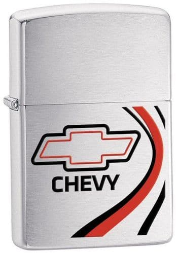 Chevy Brushed Chrome Zippo Lighter Personalised