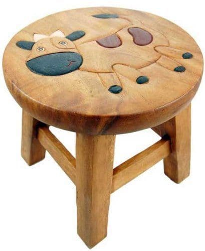 Children's Wooden Step or Stool Cow Design Personalised