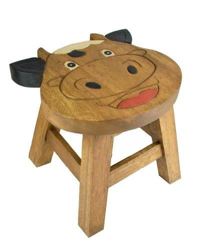 Children's Wooden Step or Stool Cow Face Design Personalised