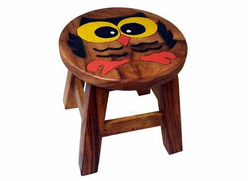 Children's Wooden Step or Stool Owl Design Personalised