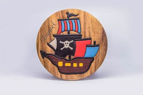 Children's Wooden Step or Stool Pirate Ship Design Personalised