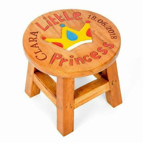 Children's Wooden Step or Stool Princess Design Personalised