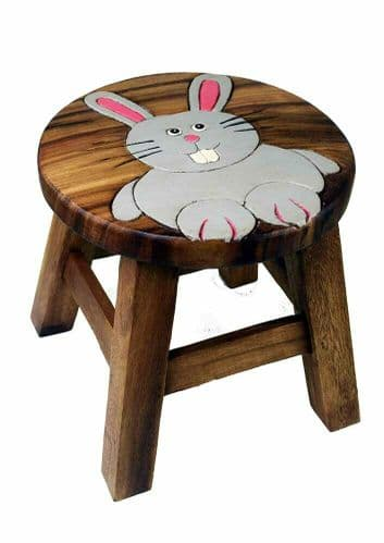 Children's Wooden Step or Stool Rabbit Design Personalised