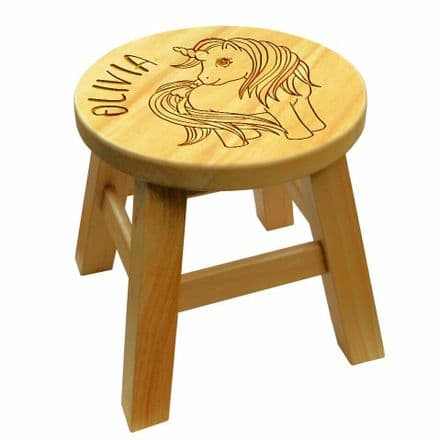 Children's Wooden Step or Stool Unicorn Design Personalised