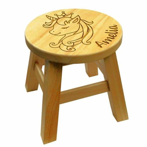 Children's Wooden Step or Stool Unicorn Head Design Personalised