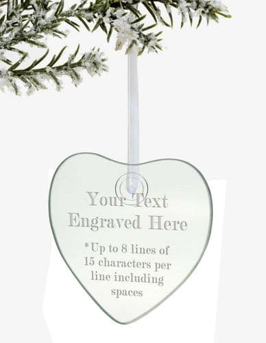 Christmas Hanging Glass Heart Tree Decoration Personalised