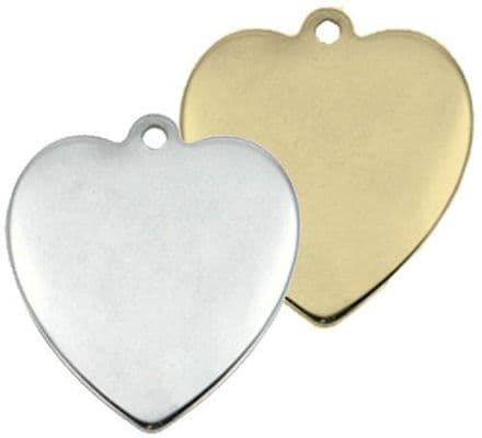 Chrome and Brass Heart Tags