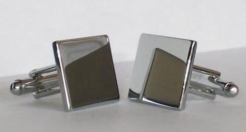Chrome Plated Square Cufflinks Personalised