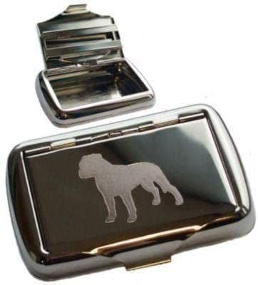 Chrome Plated Tobacco Tin With Bull Terrier Personalised