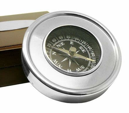 Chrome Travellers Compass in Wooden Box Personalised