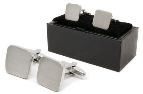 Chunky Chrome Square Cufflinks Personalised