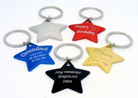 Chunky Coloured Star Keyring Personalised