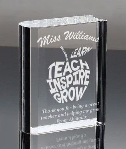 Clear Optic Glass Book Personalised