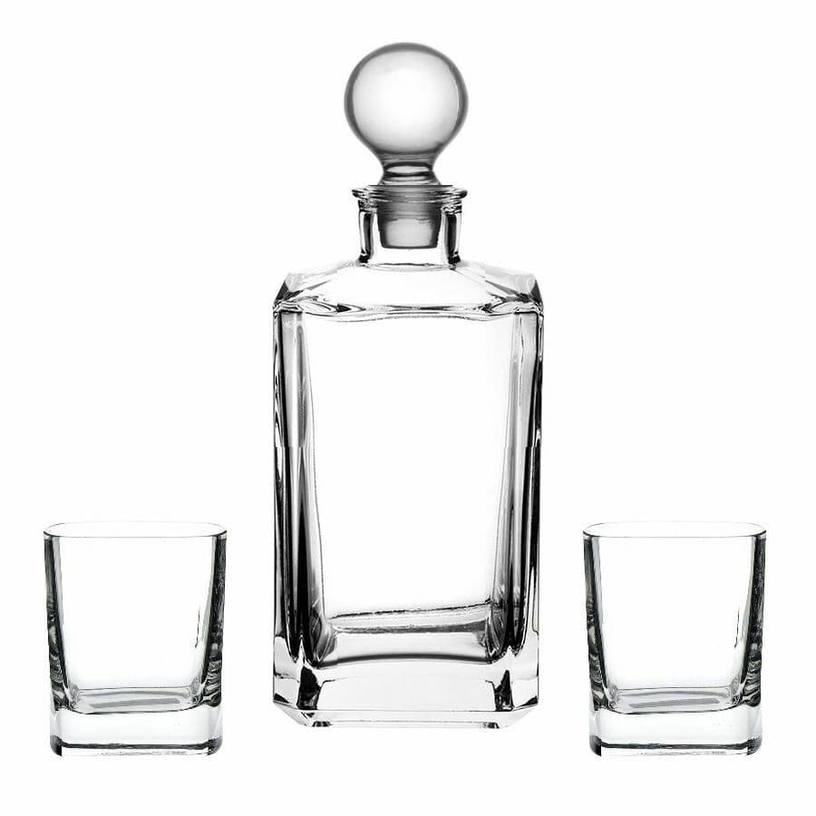 Crystal Whisky Decanter Set with 2 Square Glasses Personalised