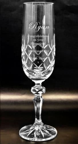 Cut Crystal Champagne Flute Engraved