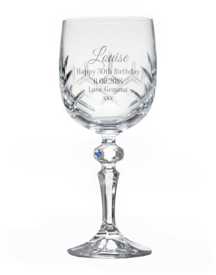 Cut Crystal Wine Glass Personalised