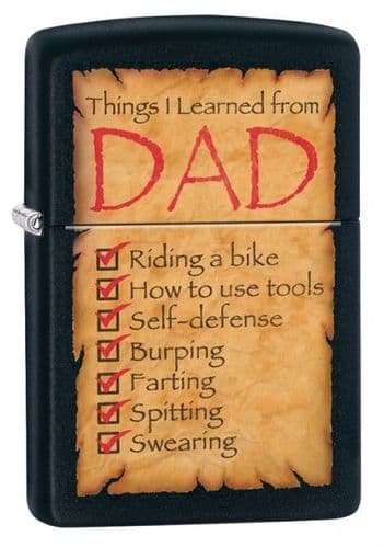 Dad Things I Learned Zippo Lighter Personalised