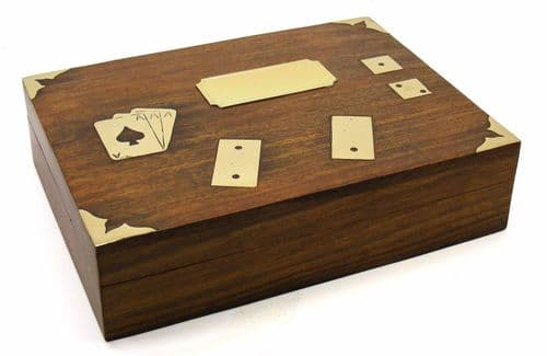 Dominoes, Card and Dice Wooden Box Personalised