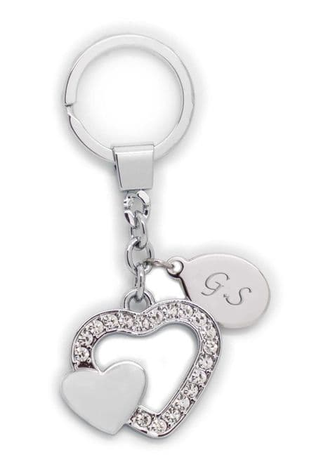 Double Heart Crystal Keyring Personalised