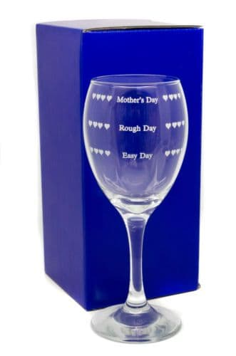 Easy Day, Rough Day, Mothers Day, Wine Glass Engraved