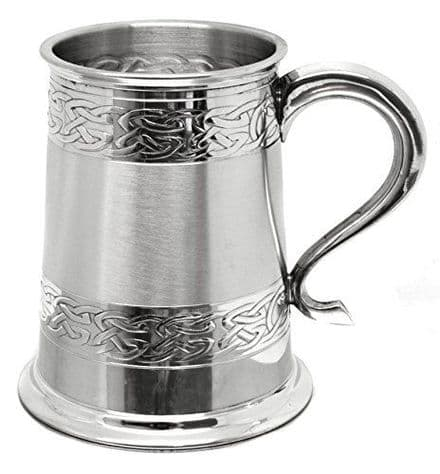 Embossed Celtic Bands 1 Pint Pewter Tankard Personalised