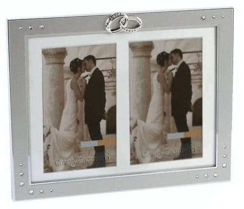 Entwined Rings Double Wedding Frame Personalised